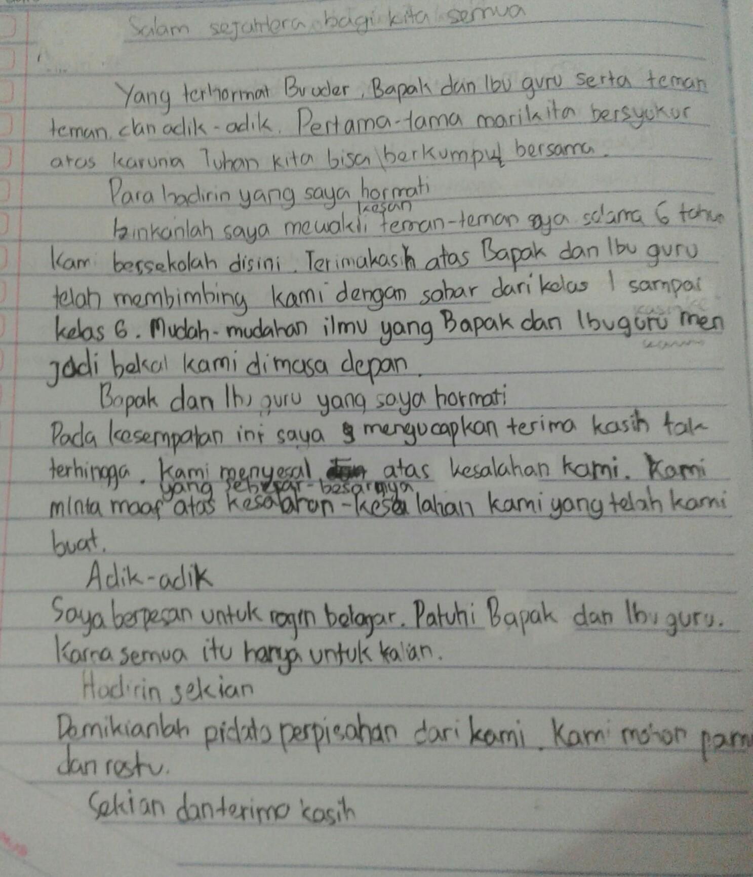 Tuliskan Contoh Pidato Singkat Tentang Perpisahan Kelas 6