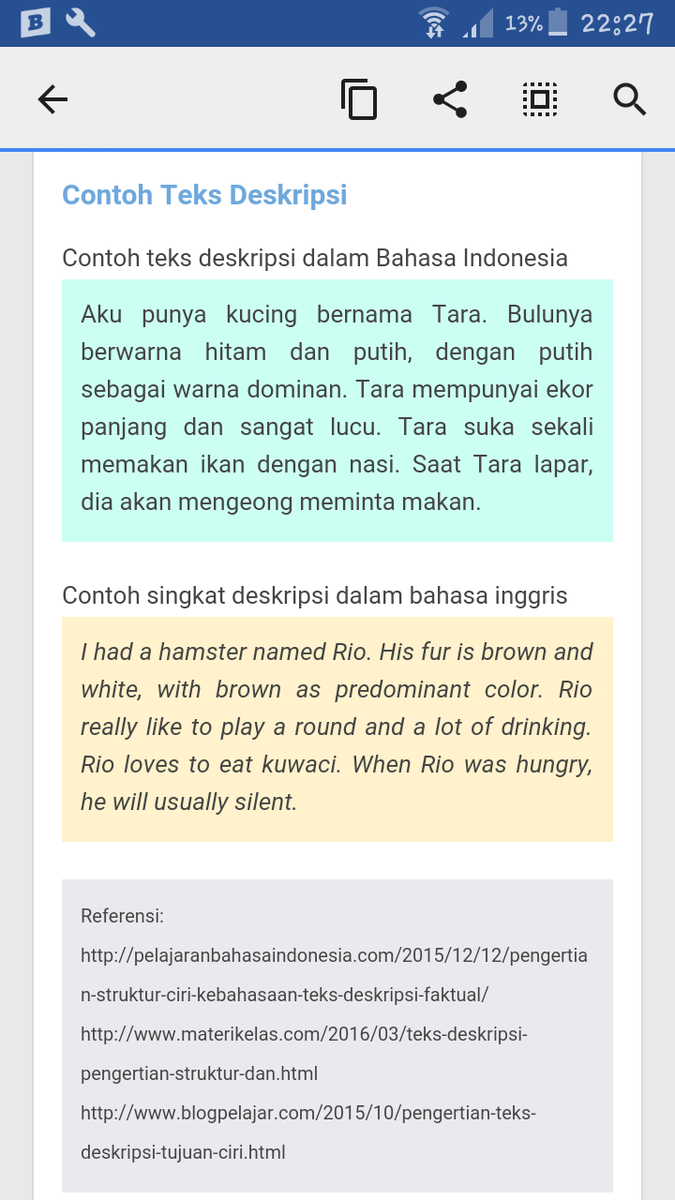 Contoh Soal Teks Deskripsi Brainly Co Id