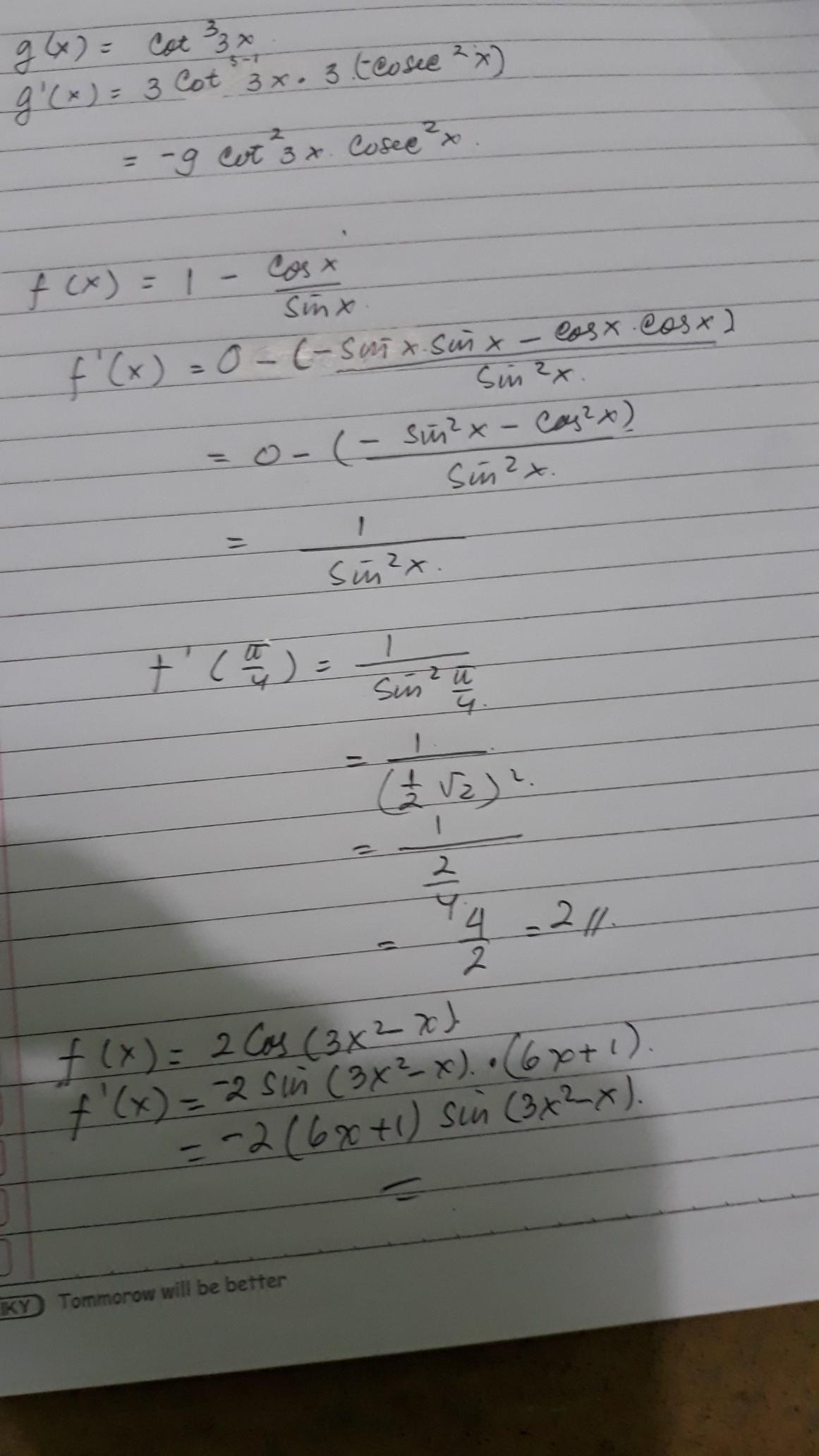 1) Turunan fungsi g(x) yang di nyatakan dengan g(x) cot³ ...