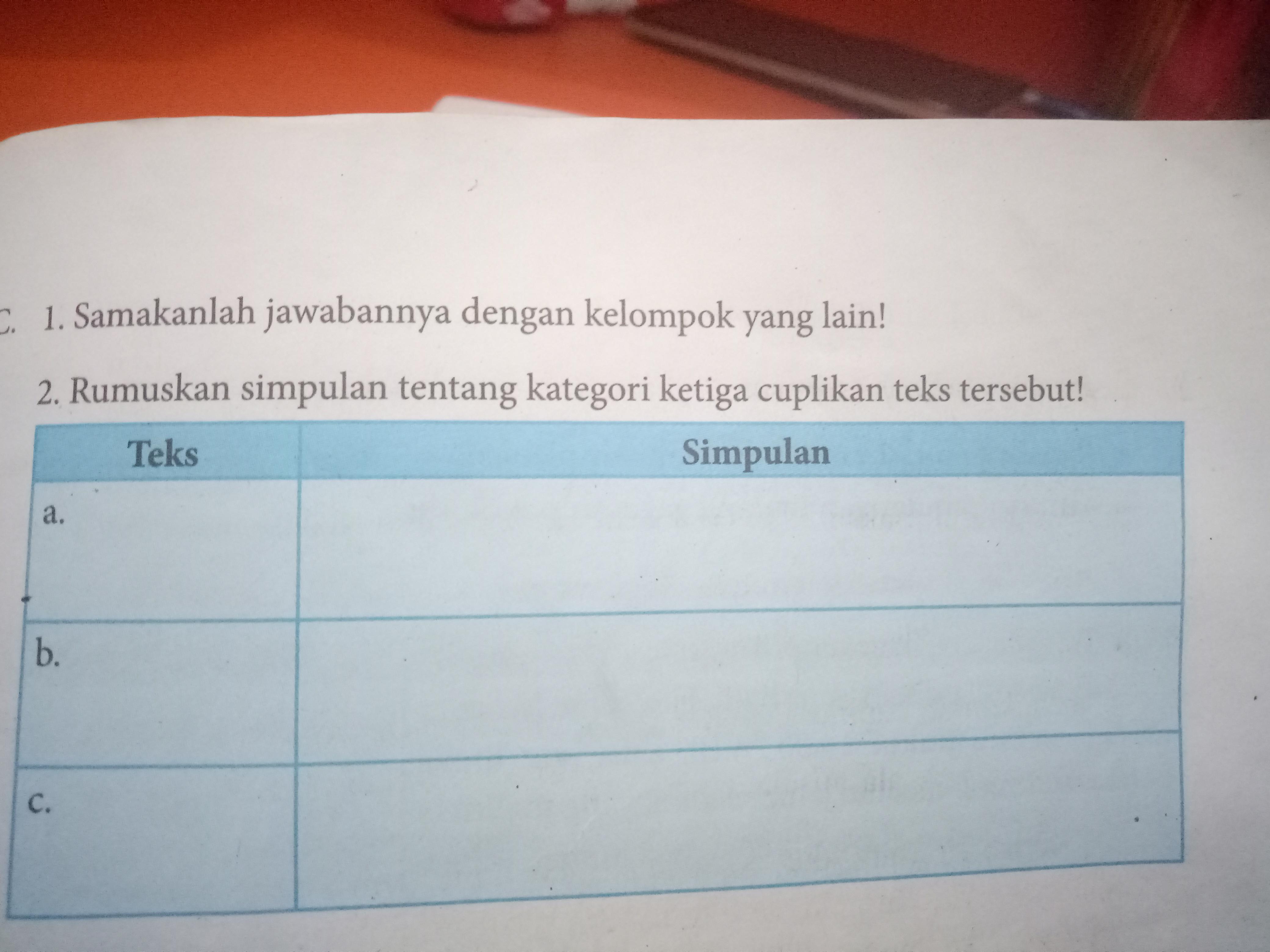 Kerjakan Dulu B Indonesia Kegiatan 5 2 Bagian C Brainly Co Id