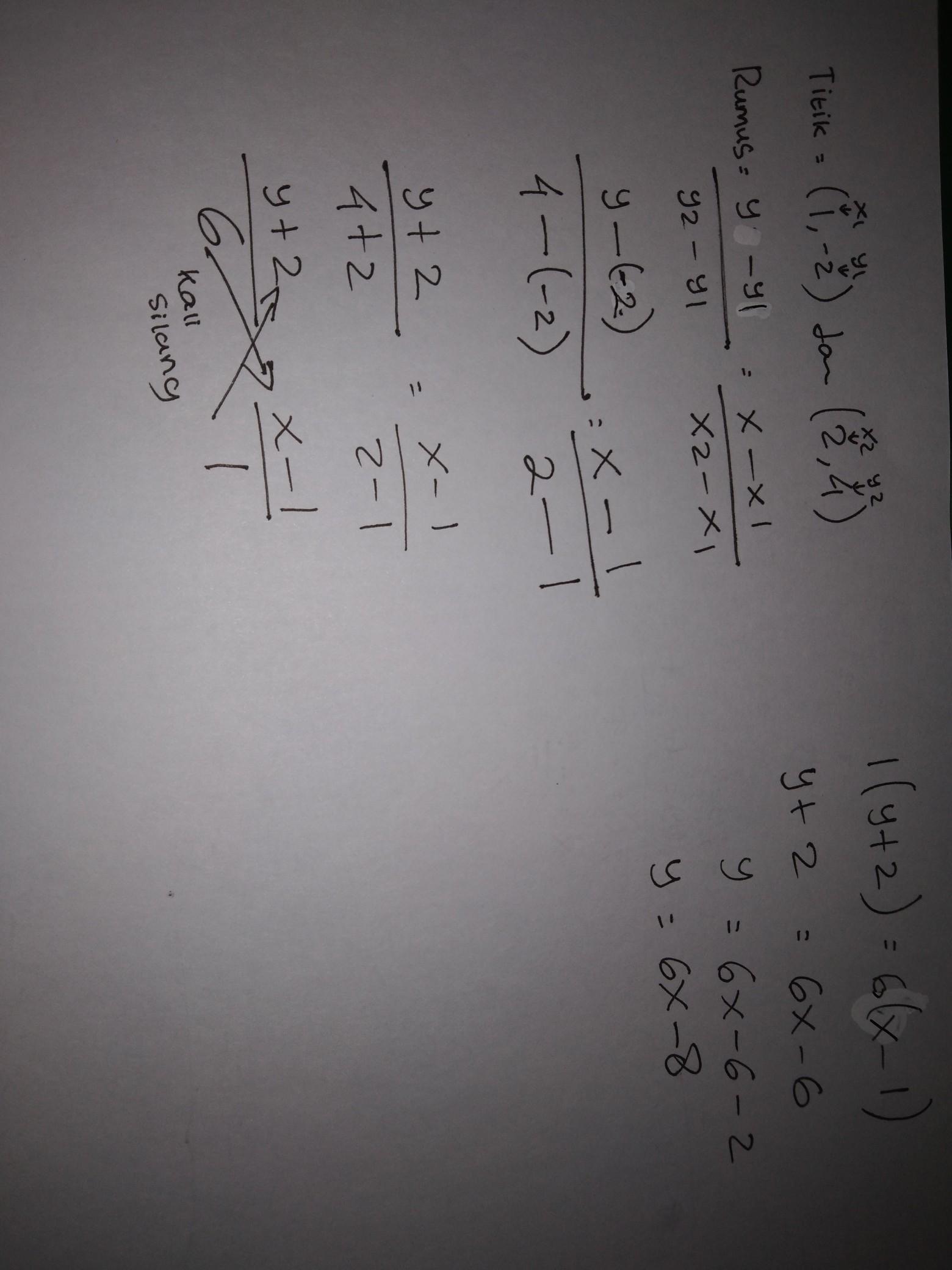 persamaan garis yg melalui titik (1,-2) dan titik (2,4 ...