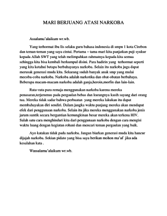 Pidato Bahasa Jawa Singkat Tentang Bahaya Narkoba Brainly