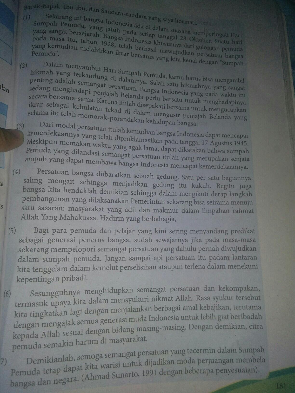 Bahasa Indonesia Buku Paket Hal 181 Kelas Viii Tolong Cariin Gagasan Umum Ide Pokok Tiap Brainly Co Id