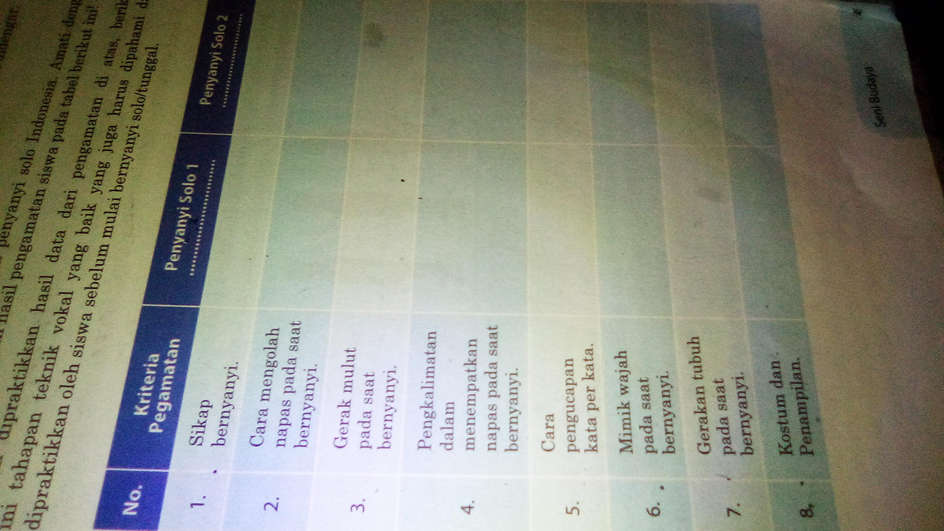 Tuliskan Kriteria Pengamatan Dari Penyanyi Solo 1 Dan Penyanyi Solo 2 Indonesia Kriteria Brainly Co Id