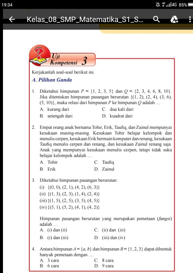 Uji Kompetensi 5 Matematika Kelas 8 Semester 1 Guru Ilmu Sosial