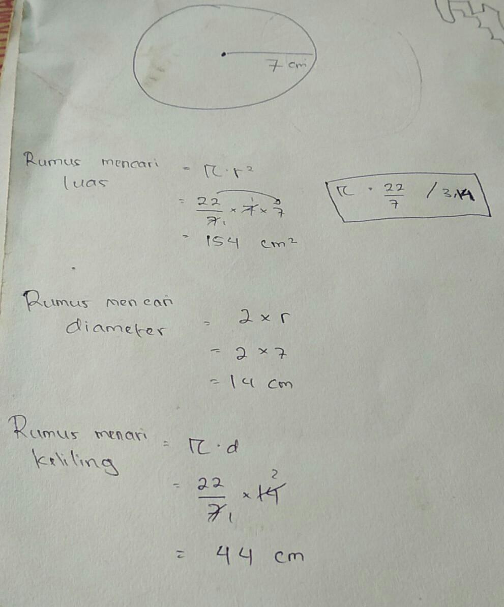 Contoh Soal Untuk Menghitung Luas Lingkaran Diameter Lingkarang Dan Keliling Lingkaran Beserta Brainly Co Id