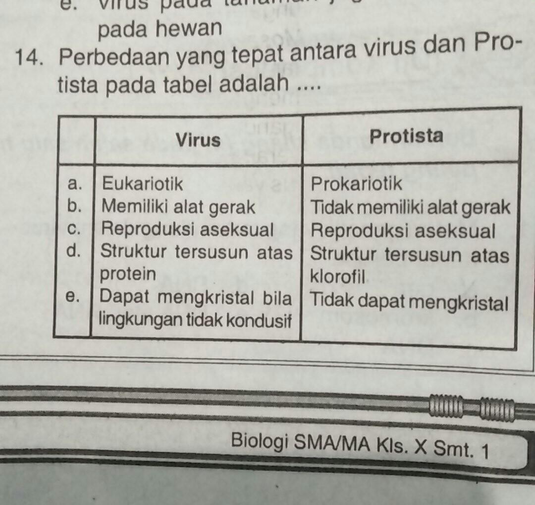 Perbedaan Yang Tepat Antara Virus Dan Protista Pada Tabel Brainly Co Id
