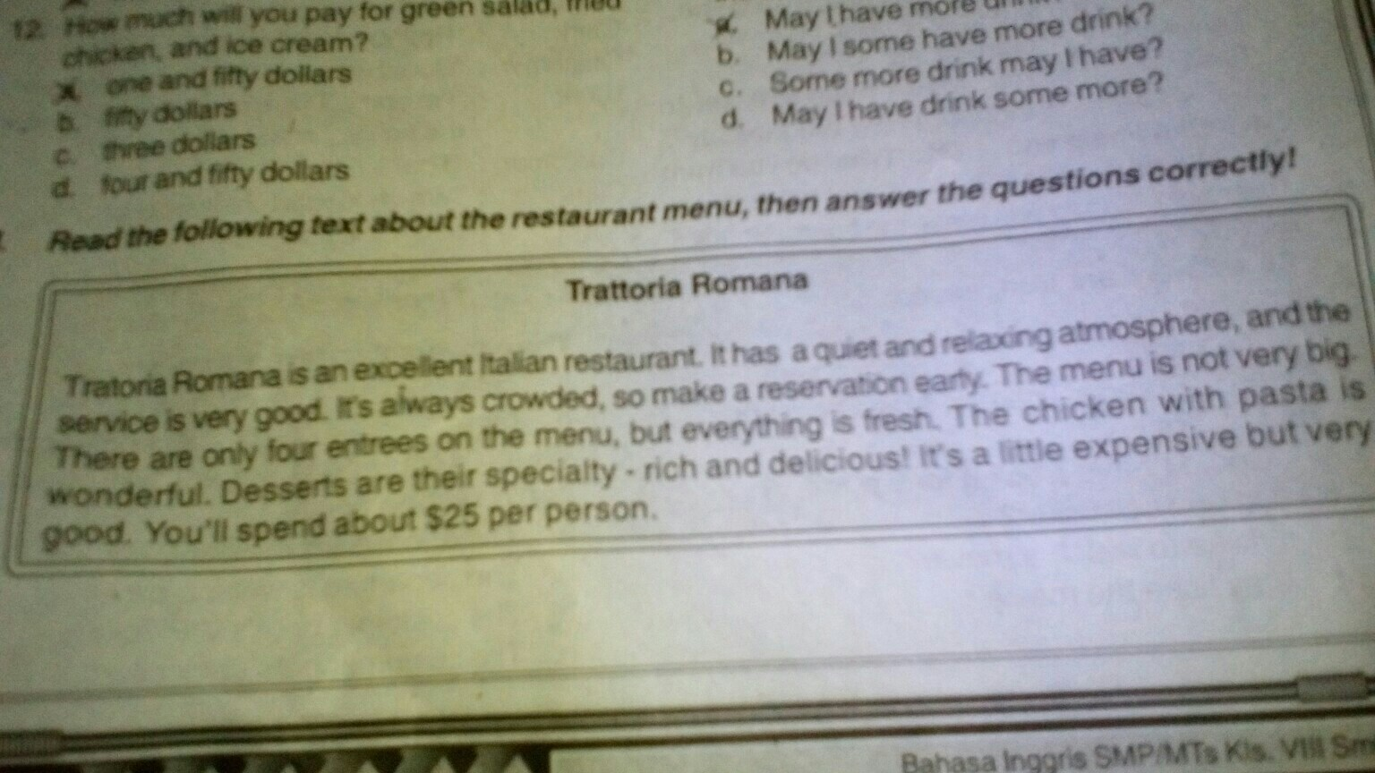 1 What Does The Text Describe 2 How Is The Atmosphere 3 How Many Entrees Are Brainly Co Id