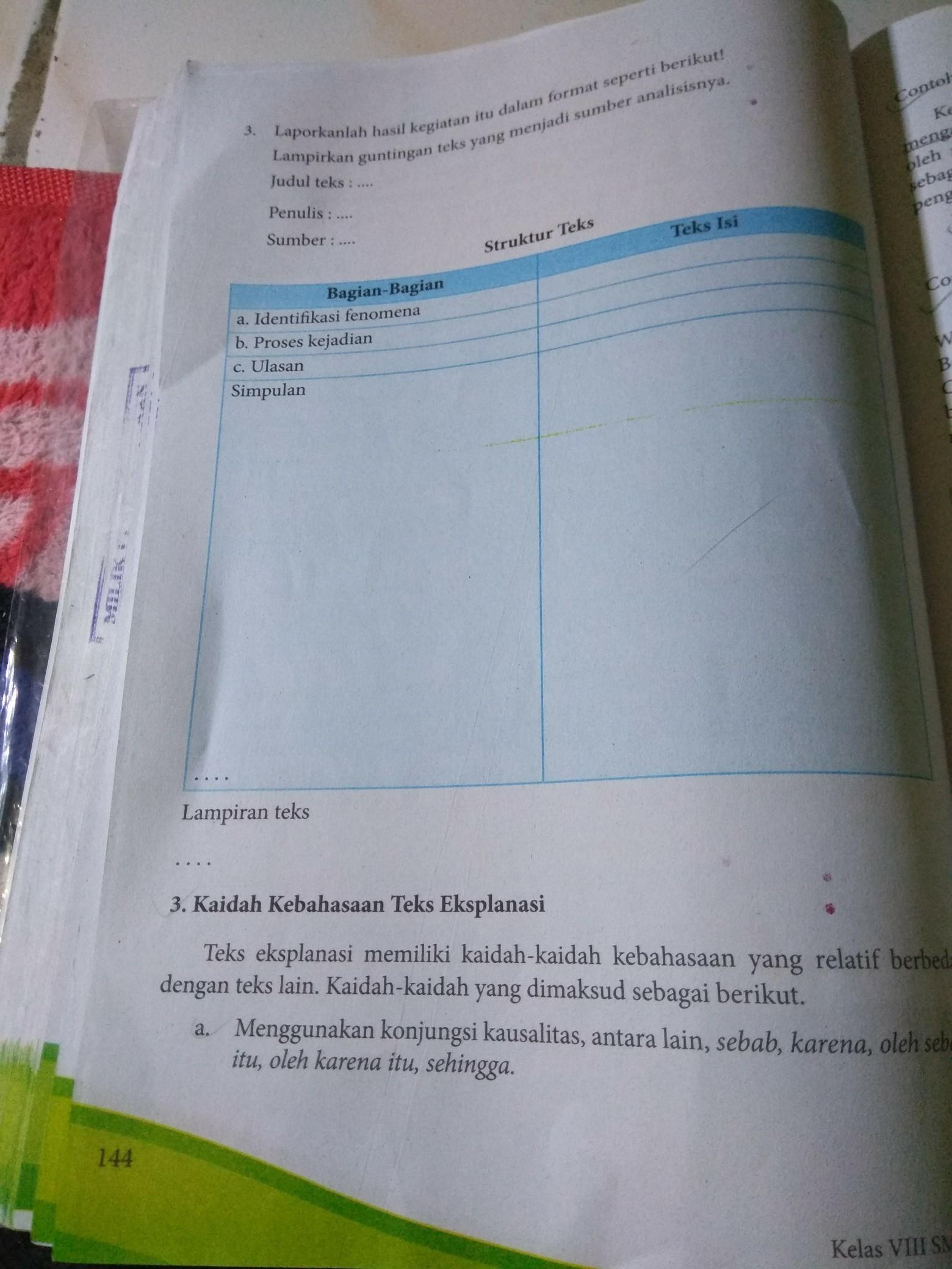 Tugas Bahasa Indonesia Kelas 8 Halaman 144 Brainly Co Id