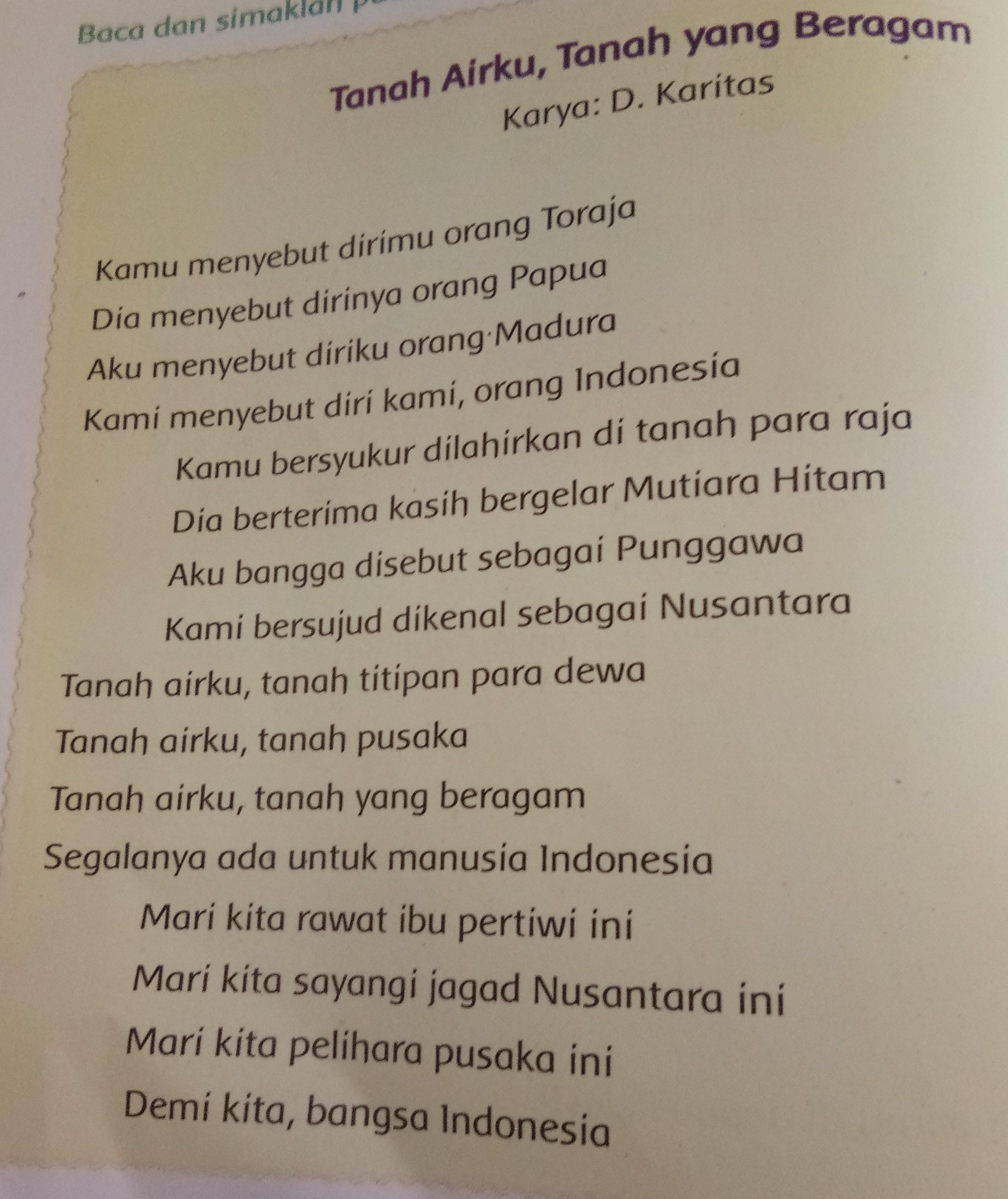 Puisi Tema Cinta Tanah Air 4 Bait Archidev