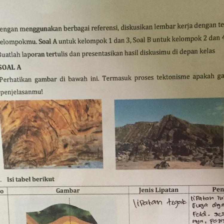 Perhatikan gambar di bawah ini. Termasuk proses tektonisme ...