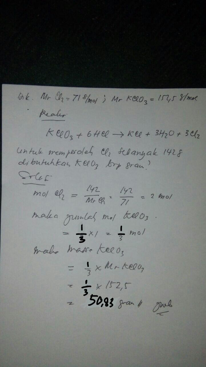 Reaksi yang terjadi antara KClO3 dan HCl adalah KClO3 ...