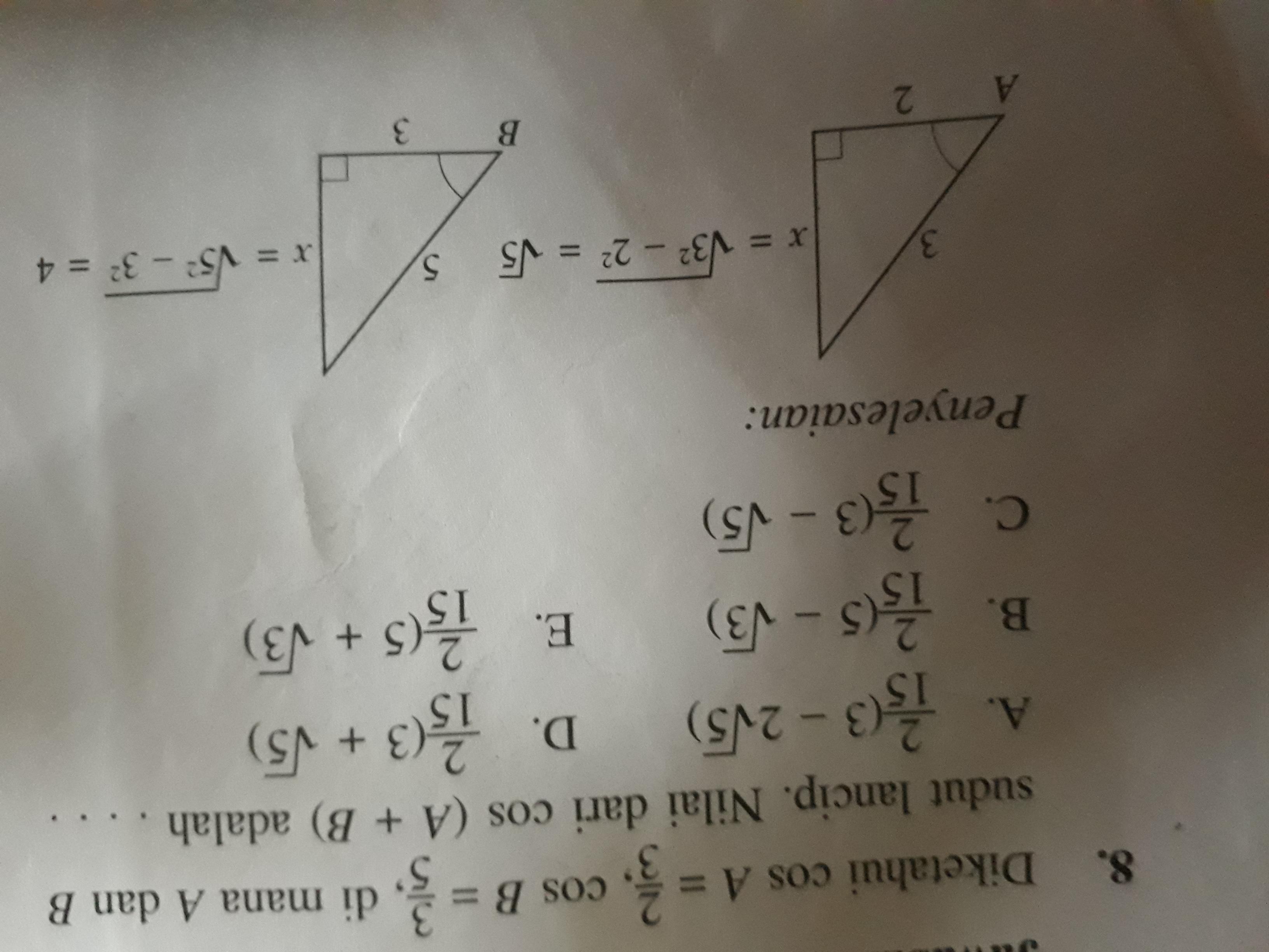 Contoh Soal Pilihan Ganda Perbandingan Trigonometri Brainly Co Id