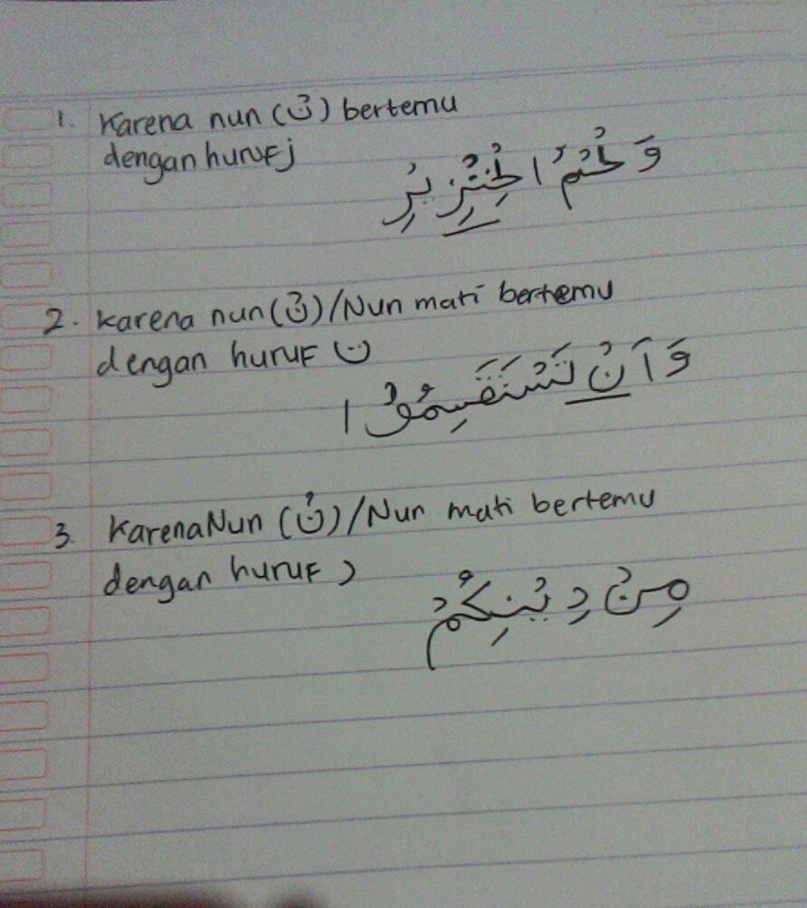 Tulislah 3 Contoh Bacaan Ikhfa Yang Terdapat Pada Surah Al Maidah
