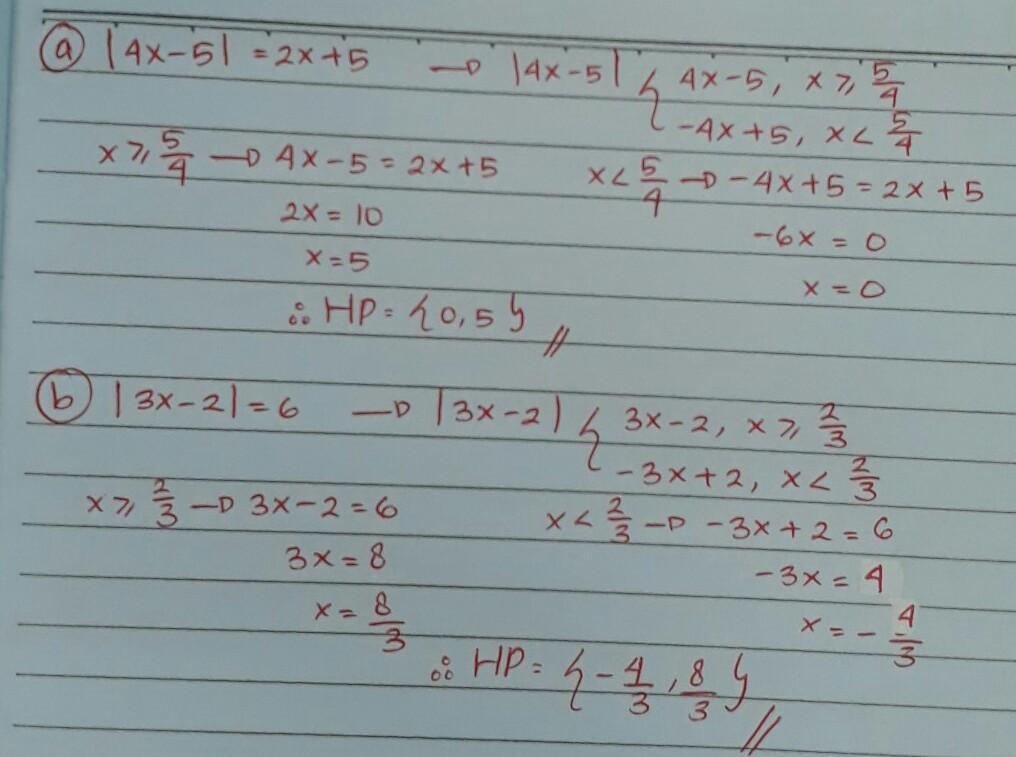 Tentukan Nilai X Dari Persamaan Nilai Mutlak Berikut A 4x 5 2x 5b 3x 2 6 Brainly Co Id