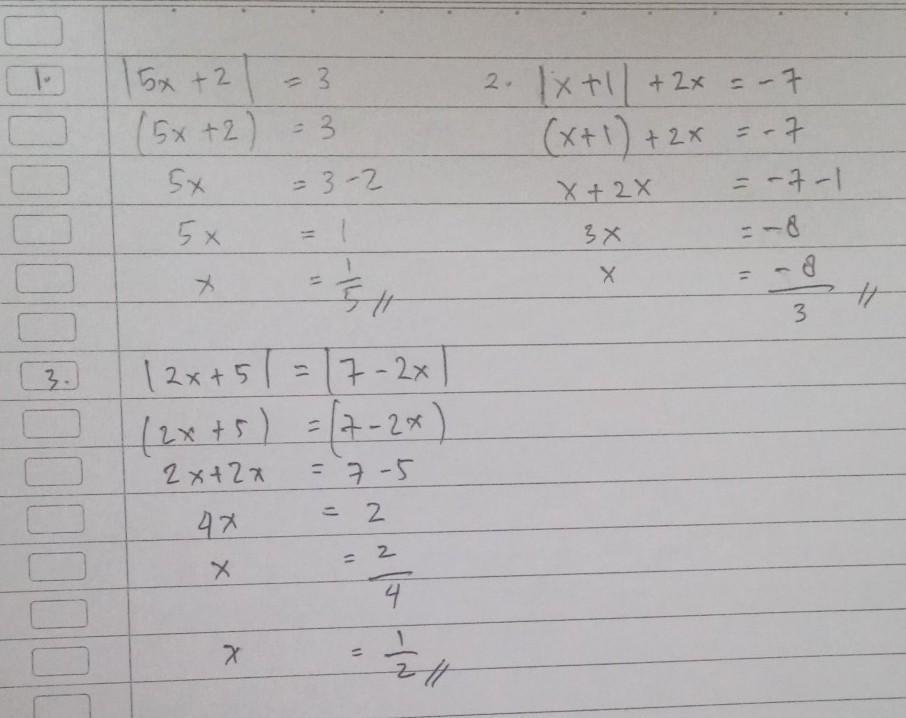 Tentukan Nilai X Yang Memenuhi Persamaan Mutlak Berikut 1 5x 2 32 X 1 2x 73 2x 5 7 2x Brainly Co Id