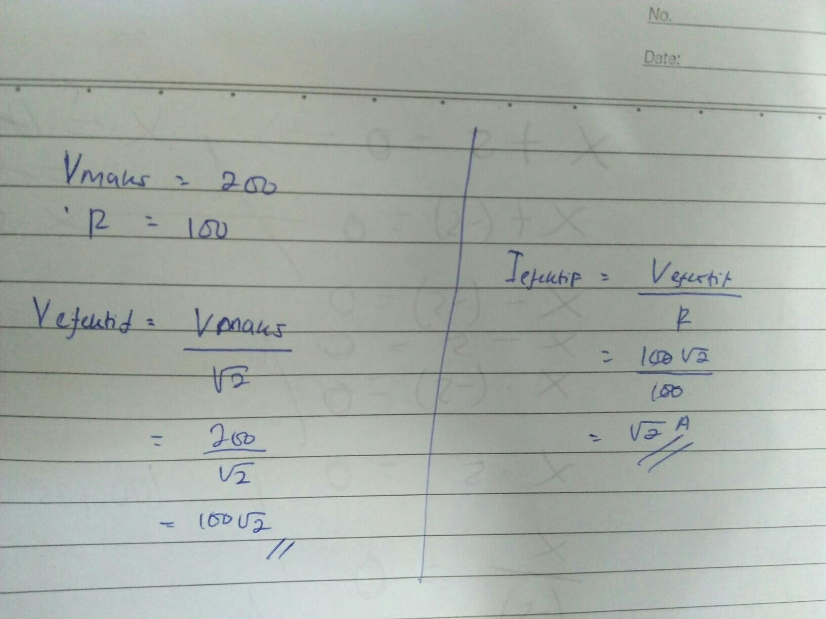 Sebuah Generator Ac Menghasilkan Tegangan Yang Memenuhi Persamaan V