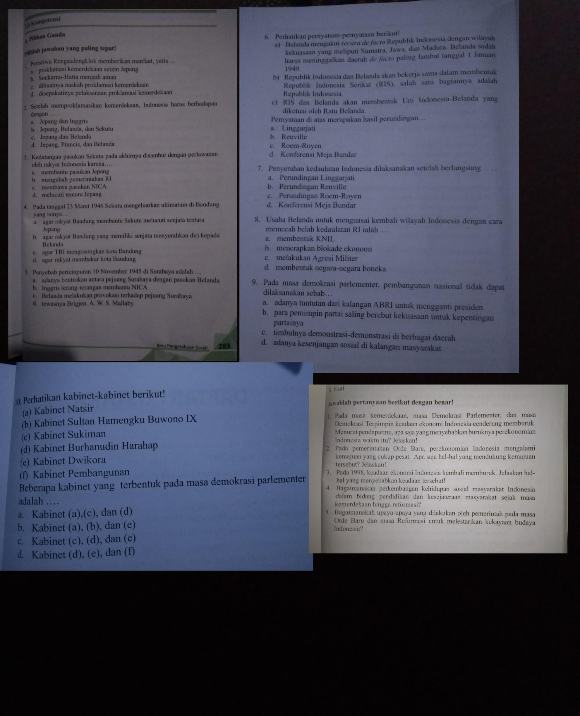 Jawaban Pilihan Ganda Ips Bab 4 Kelas 9 Halaman 283 285 Besok Di Kumpul Brainly Co Id