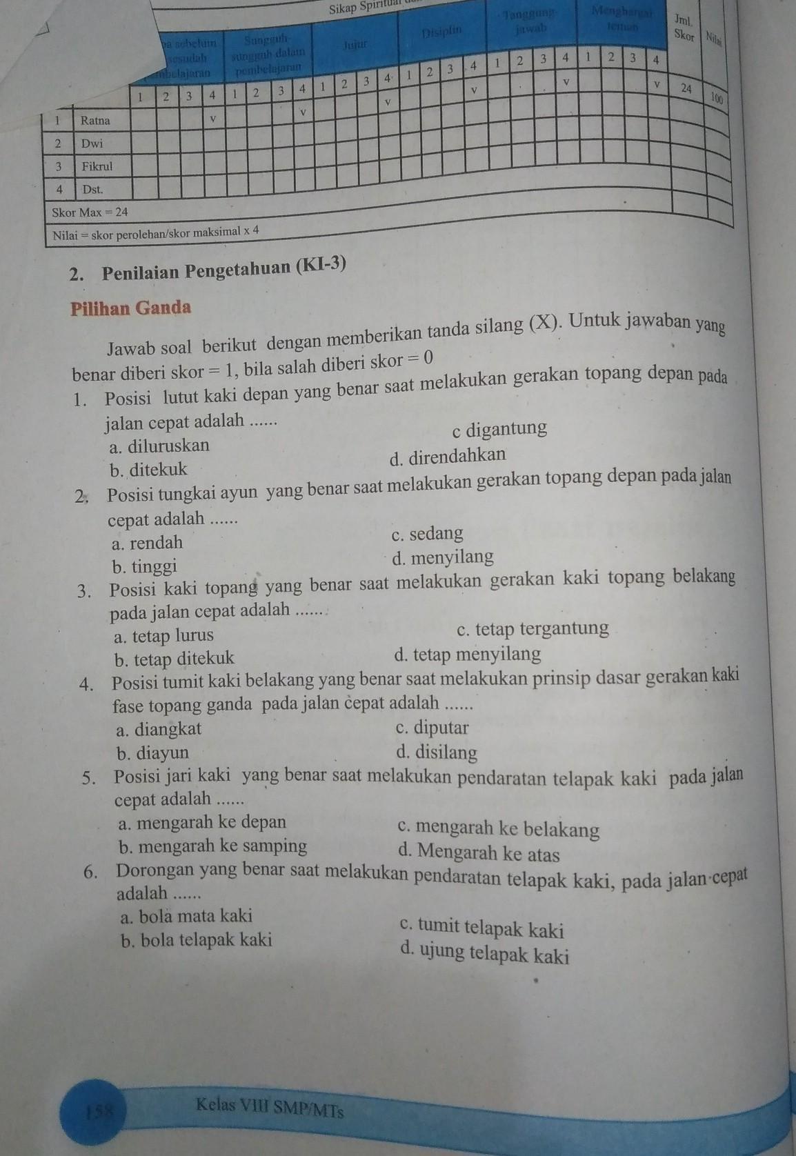 Jawaban Pjok Kelas 8 Halaman 158 160 Ada Yg Tau Gak Brainly Co Id