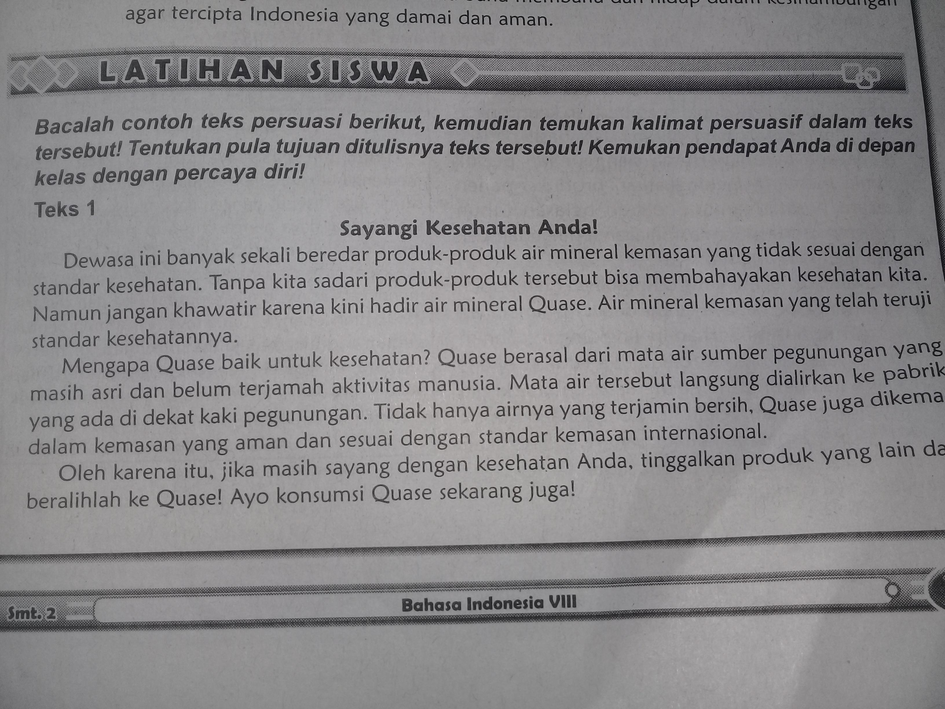Contoh Soal Bahasa Indonesia Kelas 8 Tentang Teks Persuasi ...