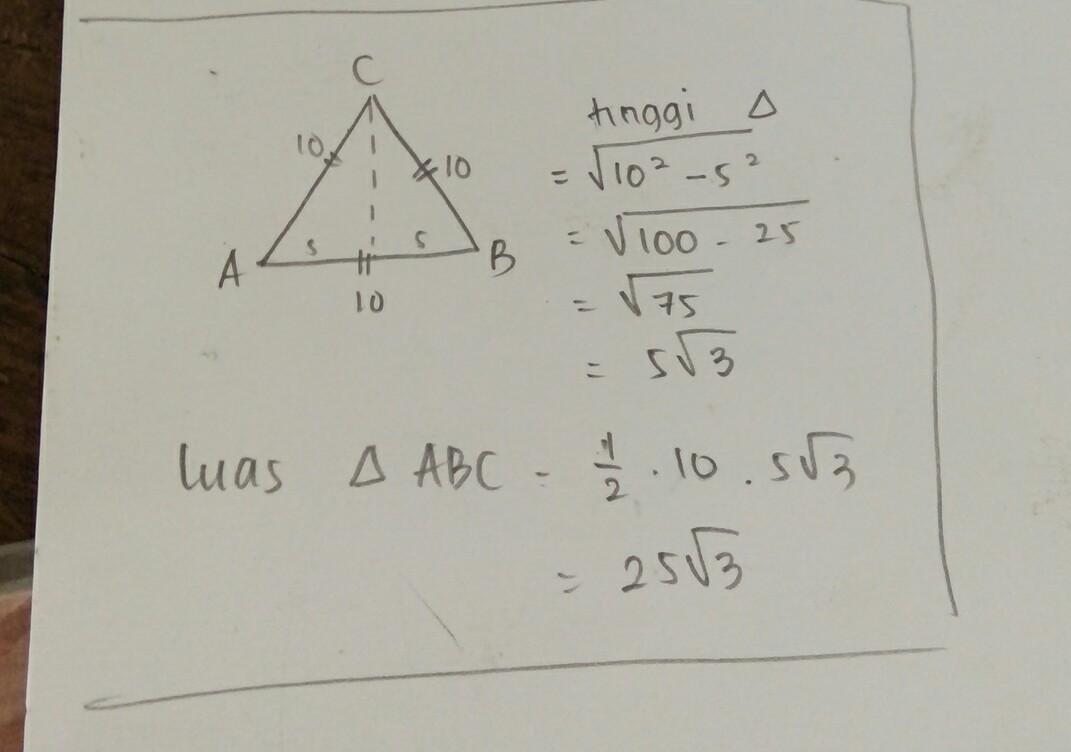 luas segitiga ABC sama sisi yang panjang sisinya 10 cm ...