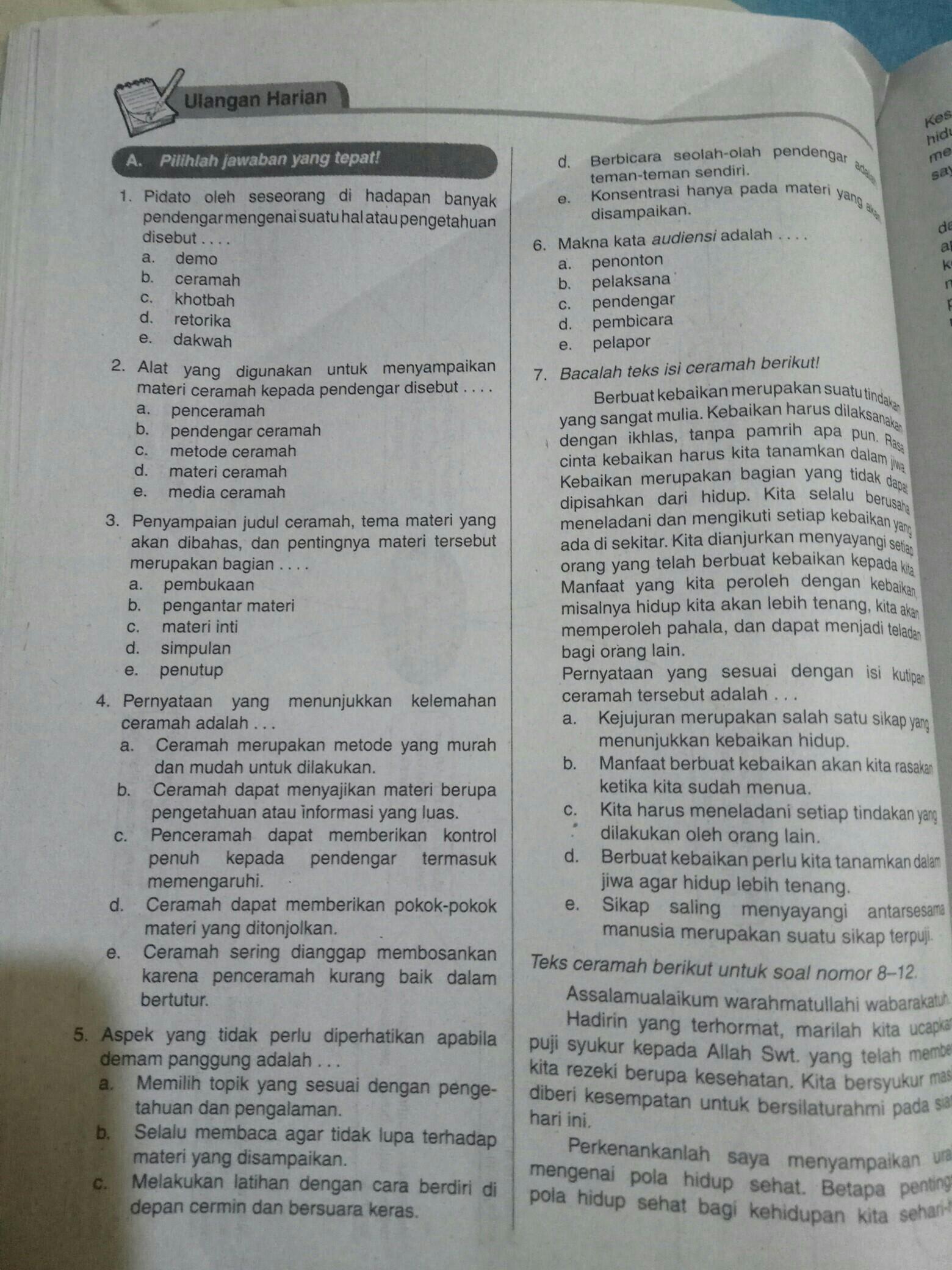 Kak Kunci Jawab Bahasa Indonesia Ulangan Harian Kelas 11 Tentang