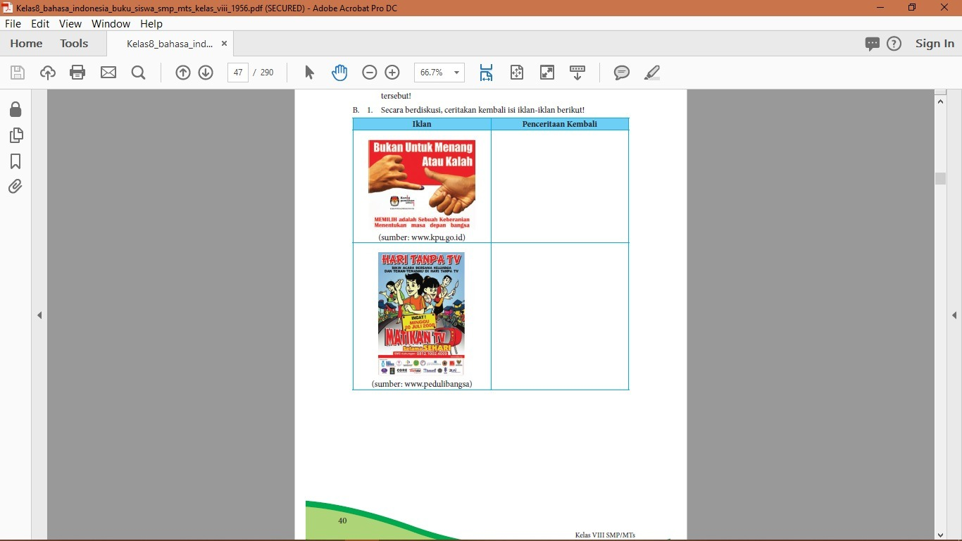 Jawaban Paket Bahasa Indonesia Kelas 8 Hal 40 41 Brainly Co Id