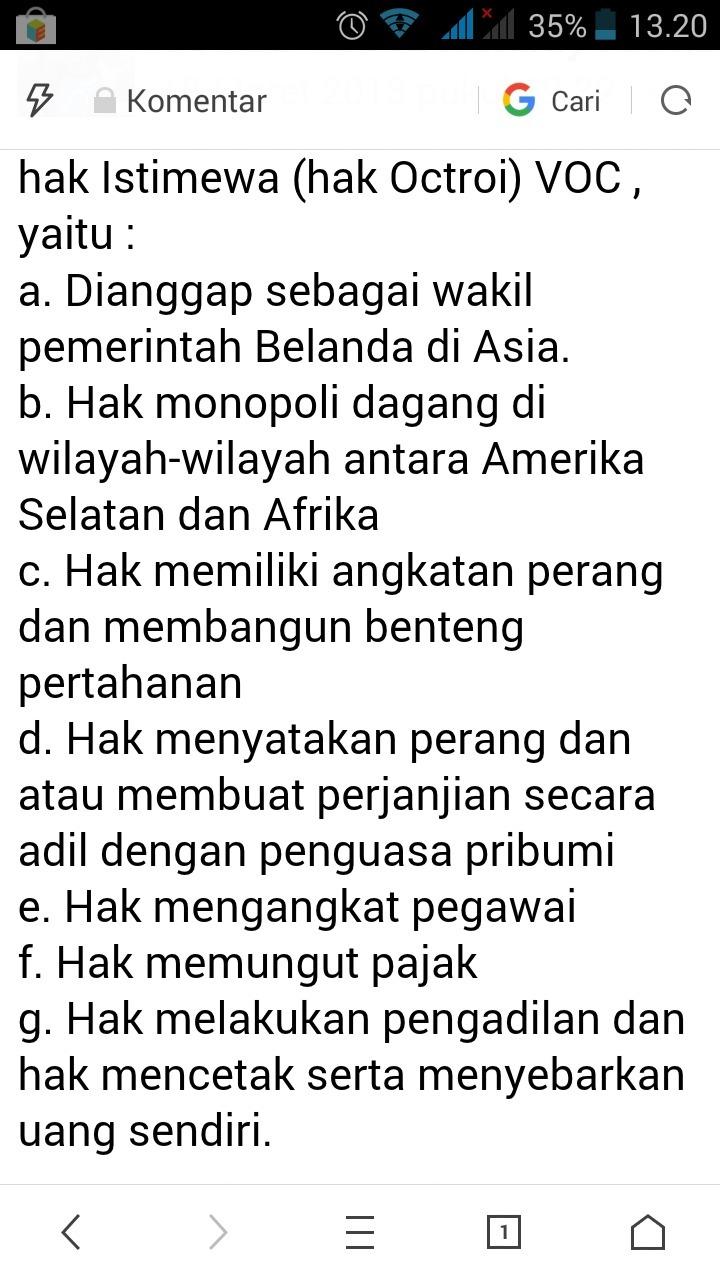Sebutkan Hak Hak Voc Di Indonesia - Sebutkan Mendetail
