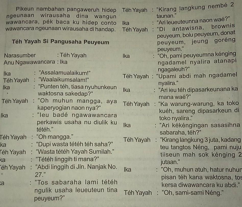 Contoh Wawancara Singkat Bahasa Sunda Ilmusosial Id