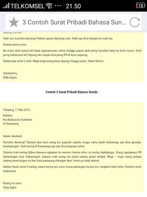 Contoh Surat Pribadi Dalam Bahasa Sunda Untuk Teman
