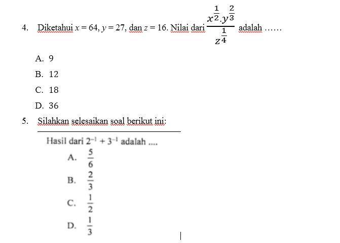 4 Diketahui X 64 Y 27 Dan Z 16 Nilai Dari X Y Adalah Z Brainly Co Id