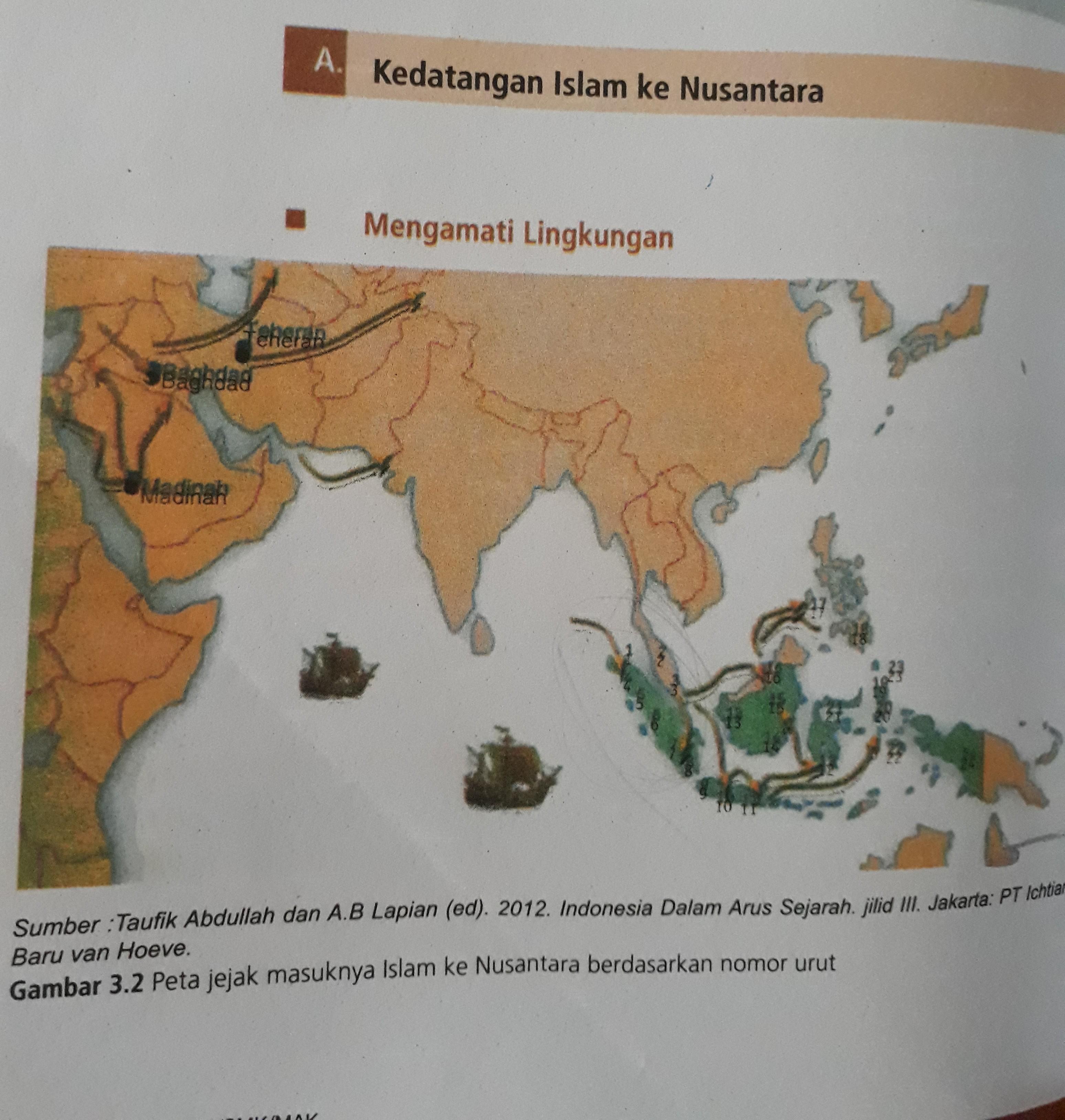 Jelaskan jalur kedatangan Islam ke Nusantara berdasarkan peta tersebut - Brainly.co.id