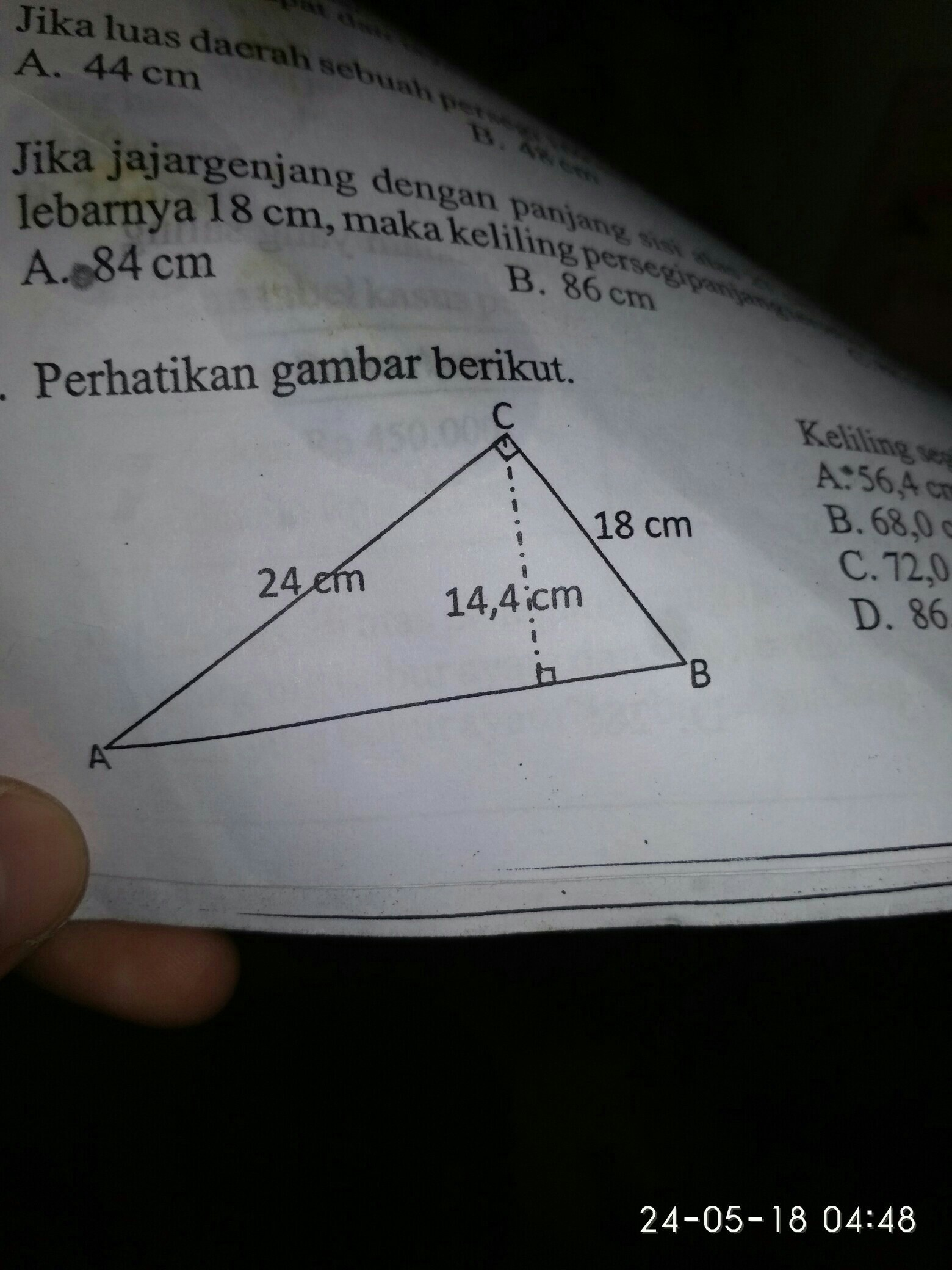 perhatikan gambar berikut. keliling segitiga ABC disamping ...