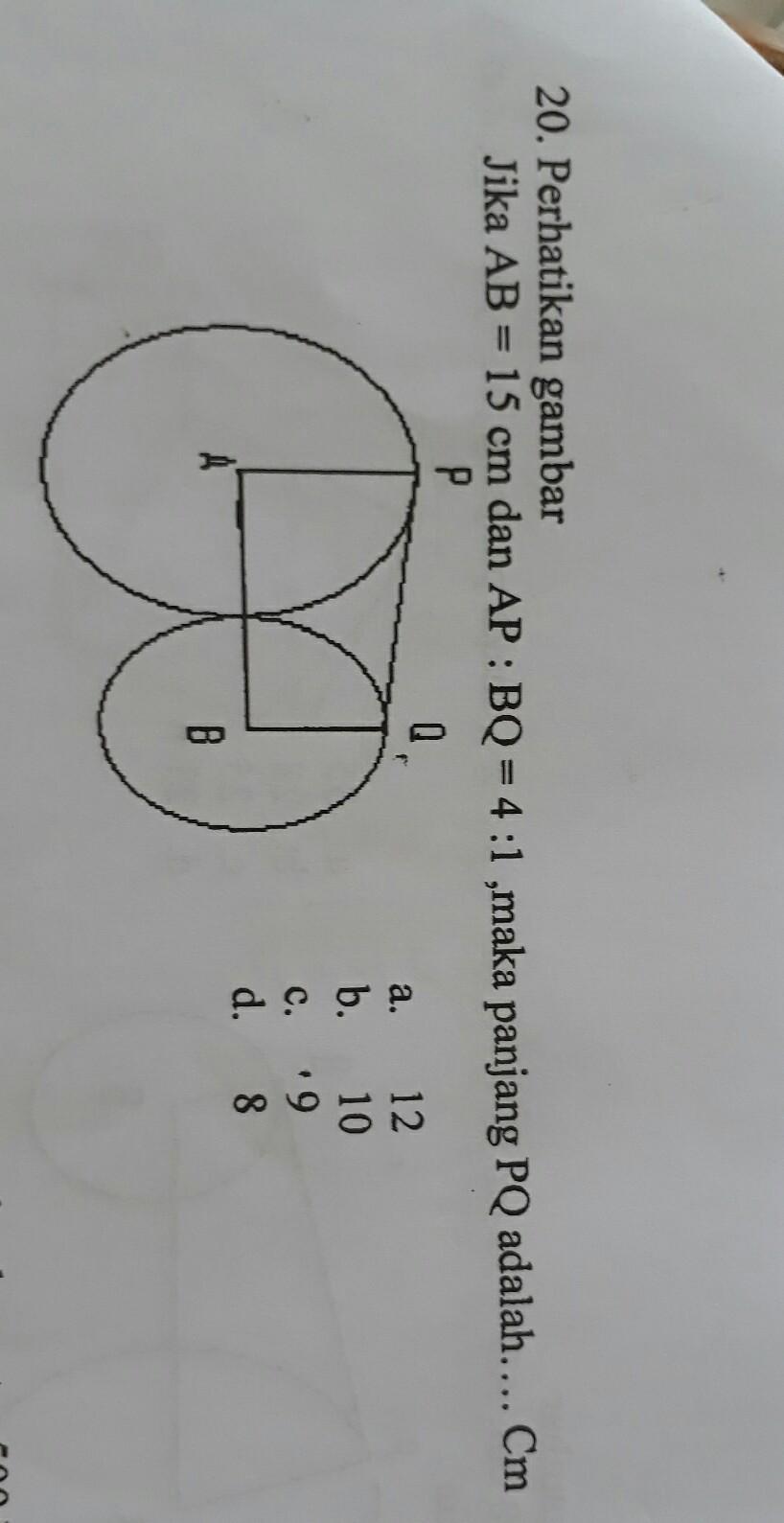 Perhatikan gambar berikut. Jika panjang AB = 15 cm dan AP ...