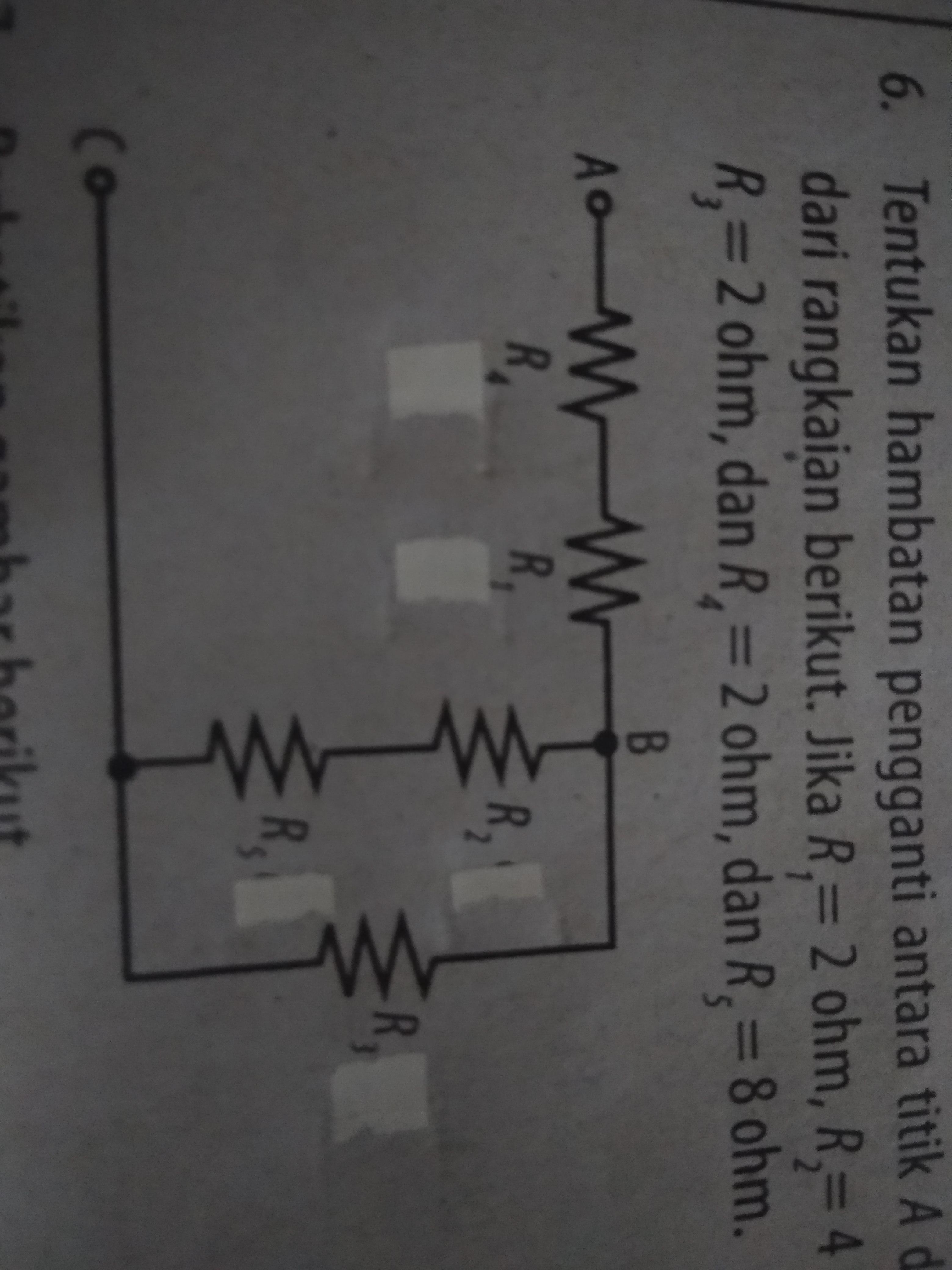 Tentukan hambatan pengganti antara titik A dan c dari ...