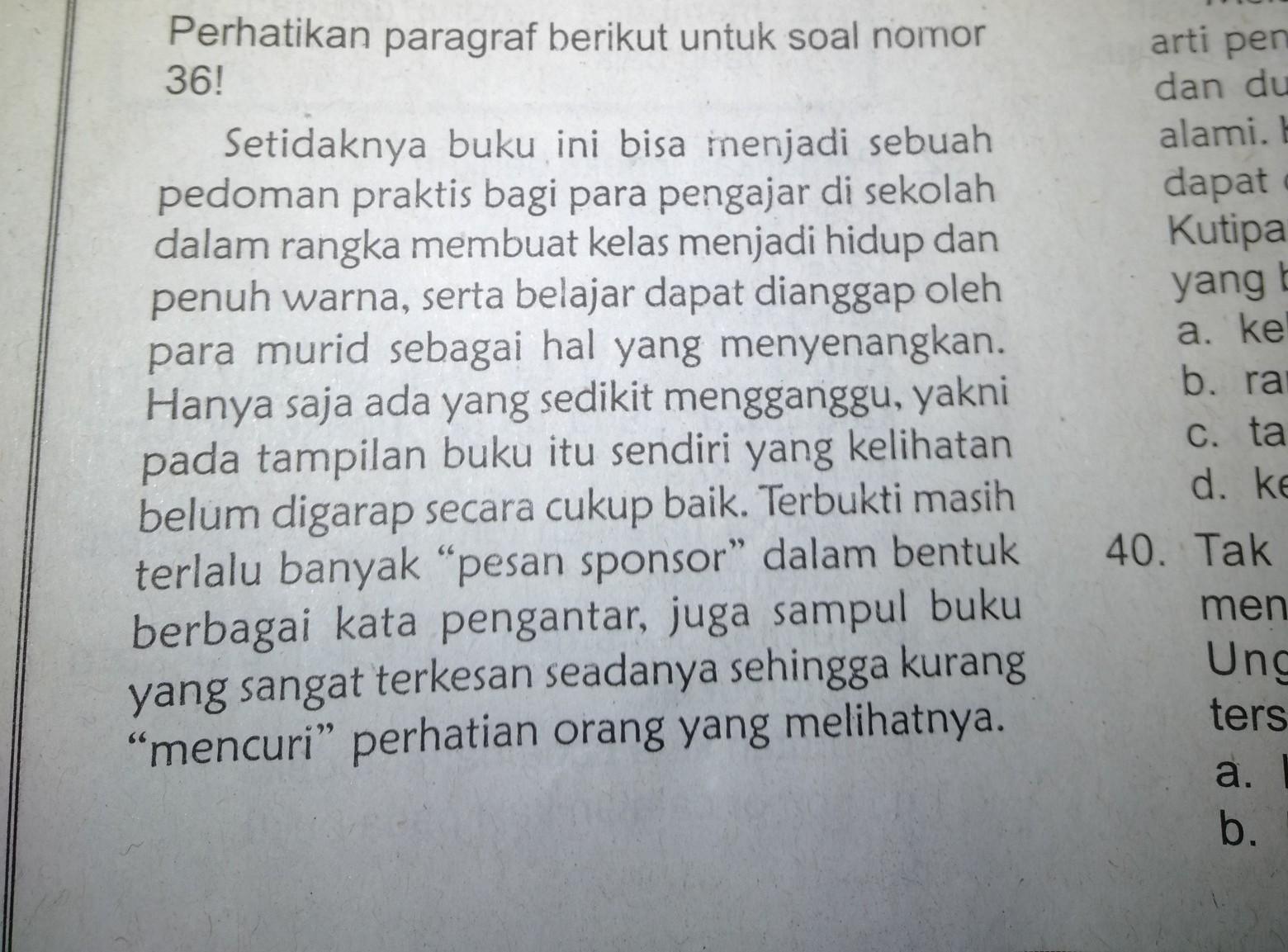 Paragraf Di Tersebut Merupakan Contoh A Pembuka Resensib Isi