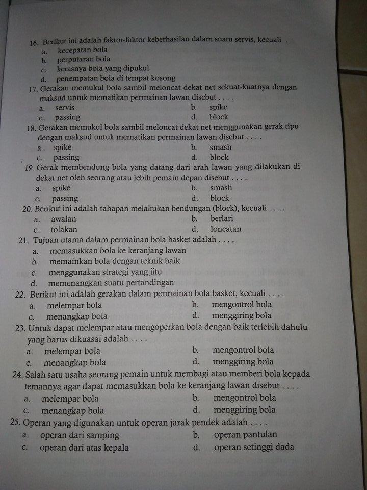 Kunci Jawaban Penjaskes Kelas 7 Semester 1 Penilaian Pelajaran 2 Gudang Kunci