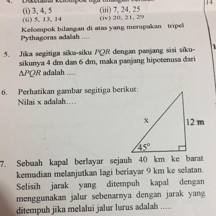 6. Perhatikan gambar segitiga berikut: Nilai x adalah ...