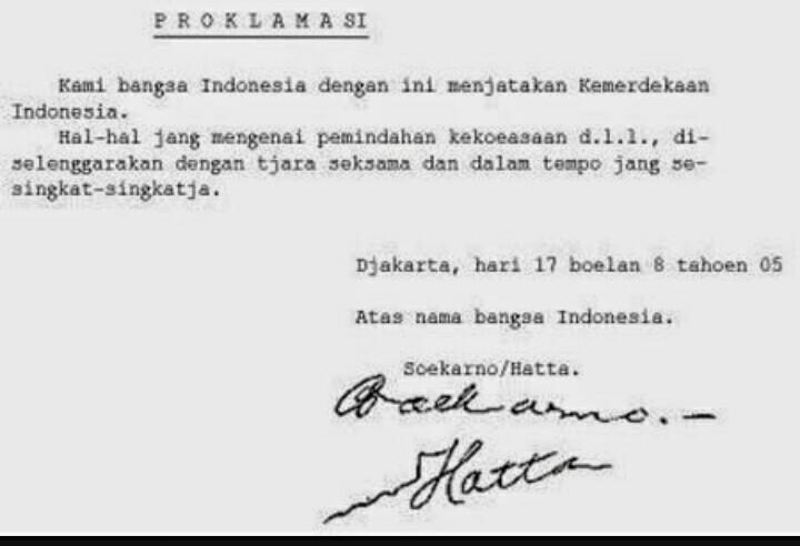 Isi Teks Proklamasi Kemerdekaan Dan Pembukaan Uud Negara Republik Indonesia Brainly Co Id