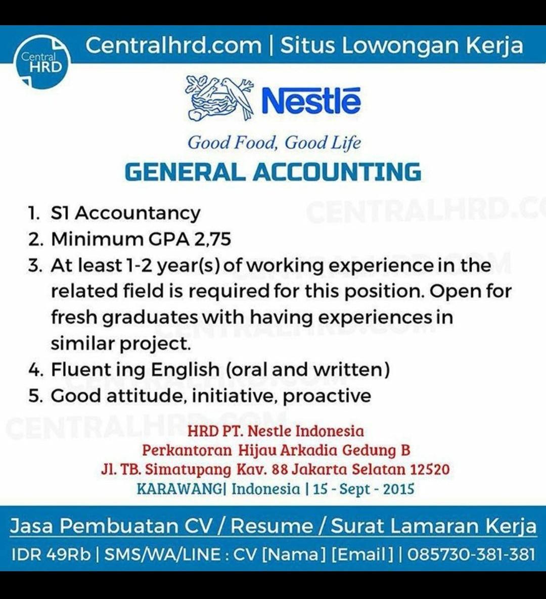 Contoh Lowongan Kerja Accounting Dalam Bahasa Inggris
