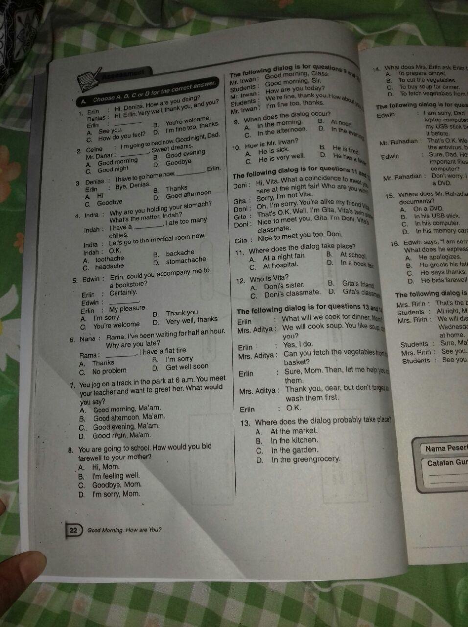 Buku Lks Kelas 7 Smp Intan Pariwara Halaman 22 Bahasa Inggris