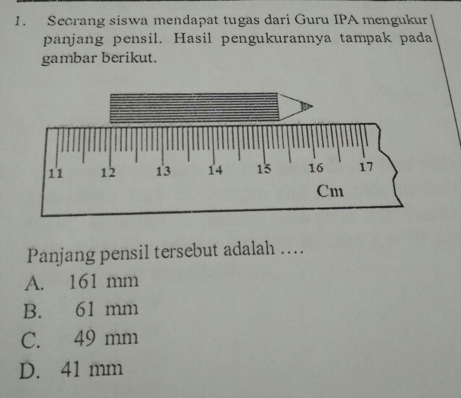panjang pensil tersebut adalah... - Brainly.co.id