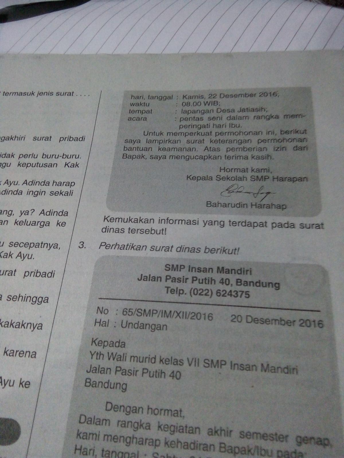 Contoh Surat Dinas Sekolah Smp Brainly Nusagates