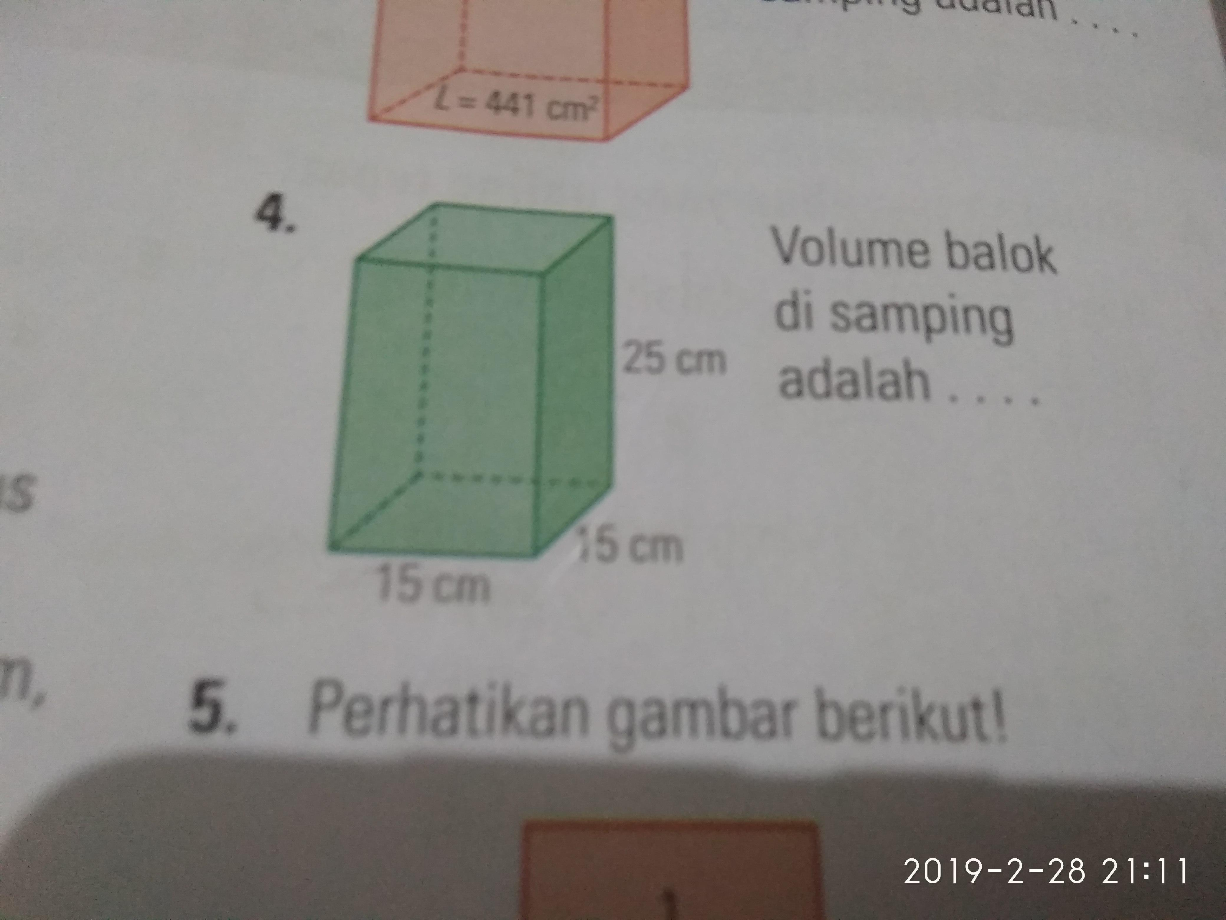 1. Volume balok disamping adalah 2. Jika nomor 2 merupakan ...