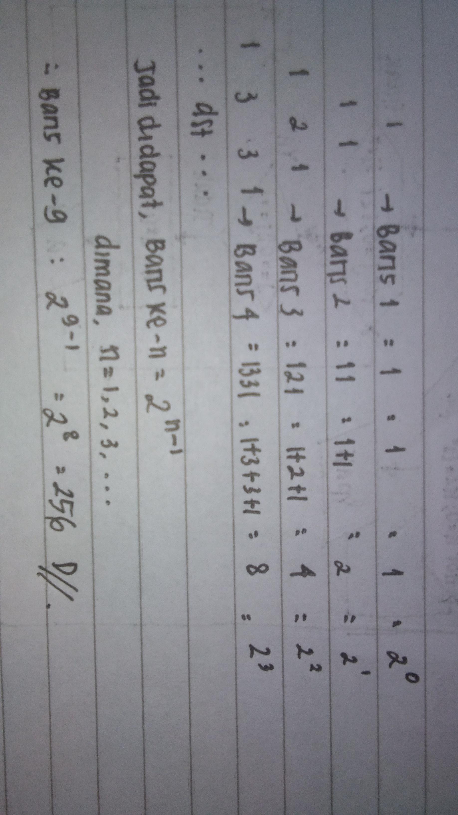 10. Jumlah bilangan pada baris ke-9 pada pola bilangan ...