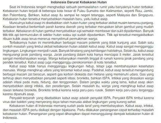 Tesis Argumentasi Recimendasi Dari Teks Indonesian Darurat Kebakaran Hutan Brainly Co Id