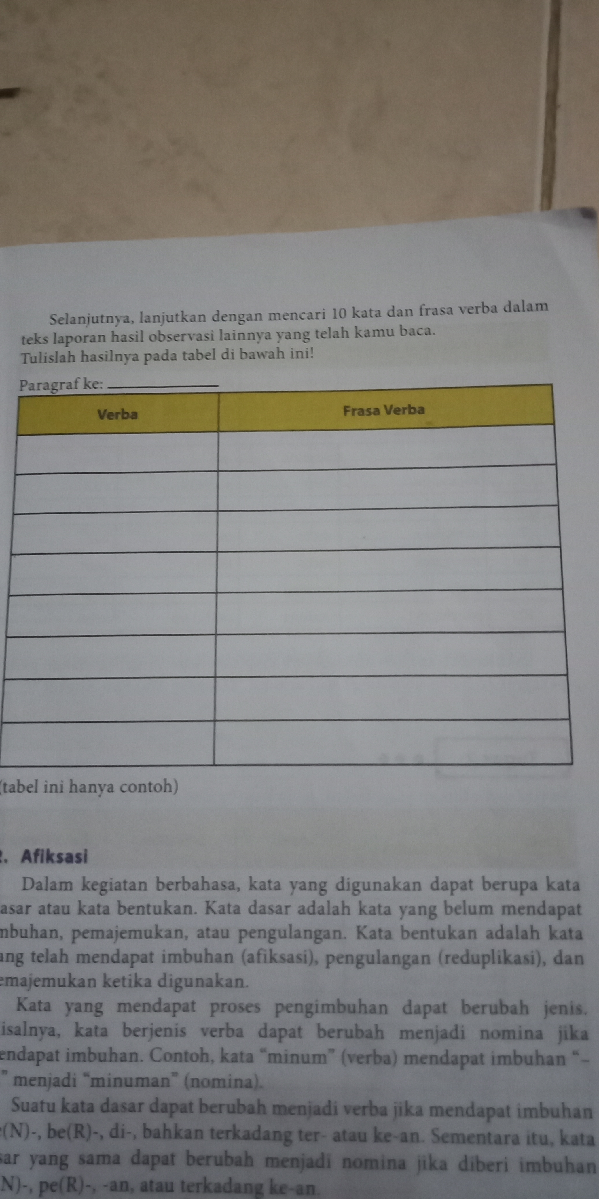 Perhatikan Tabel Verba Sebutkan Kata Verba Dan Frasa Verba Max 8