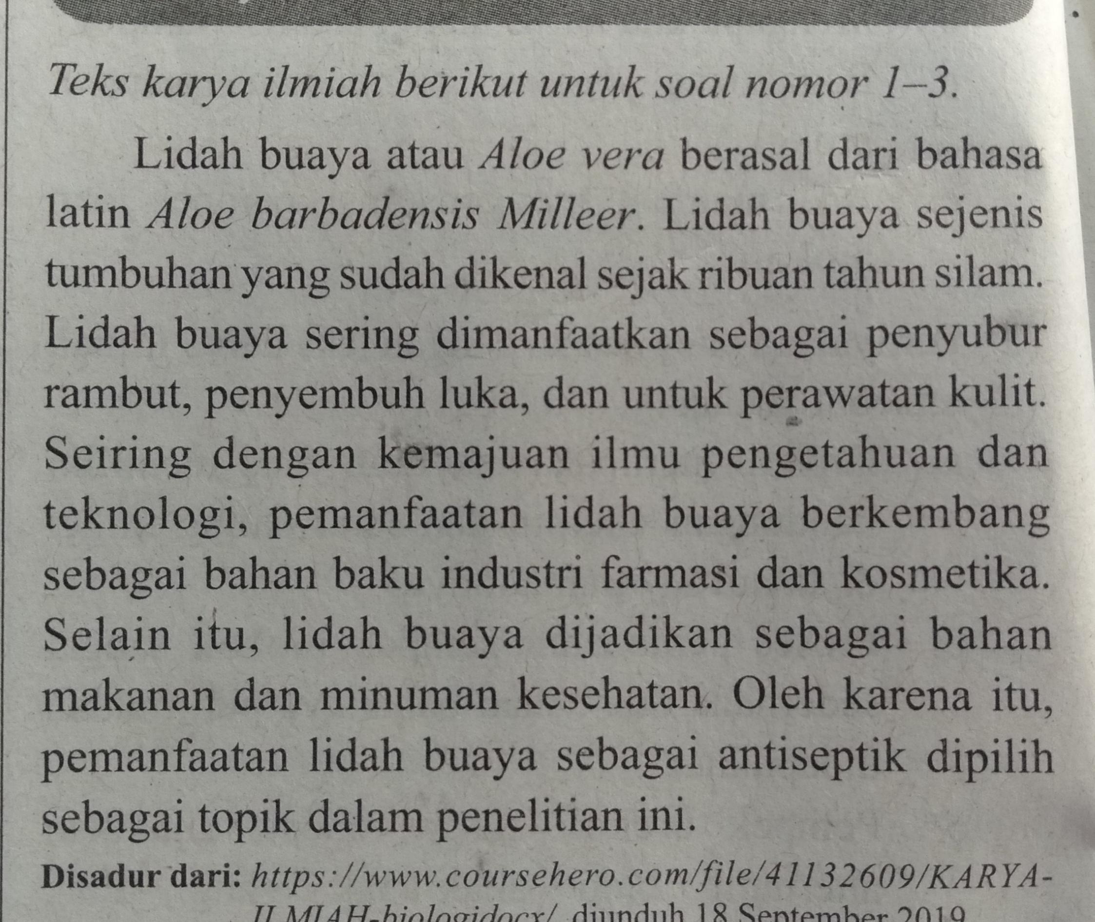 1 Tentukan Bagian Teks Karya Ilmiah Tersebut Sertakan Alasannya 2 Tentukan Informasi Penting Brainly Co Id