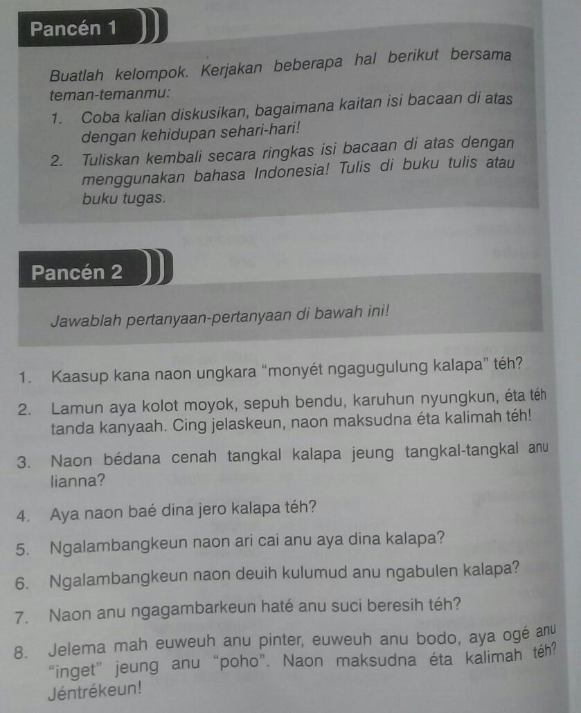 Jawaban Pancen 8 Bahasa Sunda Kelas 8 Guru Paud
