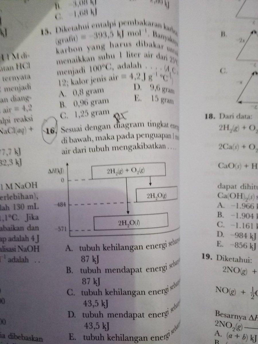 16suai dengan diagrama tingkat energi di bawah maka pada 16suai dengan diagrama tingkat energi di bawah maka pada penguapan 1 mol air dari tubuh mengakibat kan tlong dngan jalan nya yaa pleasee ccuart Images